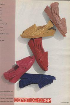 1985 Esprit Colored Huarache Sling Back Wedge Shoes Sandals Ad open toe fushia pink red royal blue mstard yellow blush nauve 80s girl fashion Fuchsia