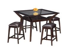 Our Mystic Table Group. Stunning style with an eye-pleasing design.      This 5-piece package includes a 48 square, glass Counter-Height Table and four backless upholstered Stools.     Stools are upholstered for comfort.     All-wood construction with a lattice design.     Tempered and beveled glass top for strength and style.     Set also available with stools that have upholstered backs.     View our wide assortment of dinettes online or visit a store close to home.