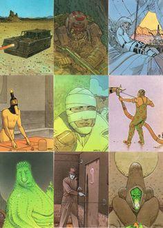Moebius trading card set from part Jean Giraud, Comic Book Artists, Comic Artist, Nogent Sur Marne, Moebius Art, Comic Style Art, Graphic Art, Graphic Novels, Dibujo