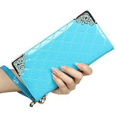 OOOK Womens Leather Wristlet Clutch Wallet Zipper Around Card HolderBlue ** More info could be found at the image url.