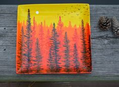 Hand Painted Forest Dawn Porcelain Platter - Father's Day Gift by Mary Elizabeth Arts on Gourmly