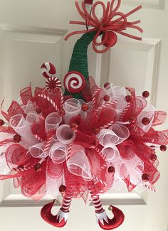 Items similar to Elf Hat. Wreath Crafts, Diy Wreath, Christmas Projects, Christmas Crafts, Christmas Hat, Christmas Mesh Wreaths, Deco Mesh Wreaths, Santa Wreath, Christmas Centerpieces