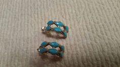 Vintage turquoise hoop earrings. Silver tone #Hoop Pierced Earrings, Silver Hoop Earrings, Stud Earrings, Retro Costume, Vintage Turquoise, Ebay, Jewelry, Jewlery, Jewerly