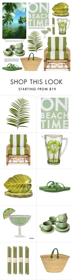 """A Green Day at the Beach"" by lgb321 ❤ liked on Polyvore featuring interior, interiors, interior design, home, home decor, interior decorating, Pier 1 Imports, Go Jump in the Lake, Lane Venture and Certified International"