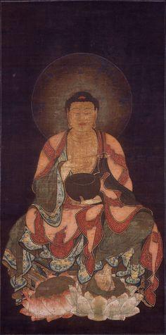 Gautama Buddha, Kamakura Period, at Shiga Ishiyamadera Temple, Japan Lotus Buddha, Art Buddha, Buddha Painting, Buddha Buddhism, Kamakura Period, Amitabha Buddha, Shiga, Religious Art, Asian Art