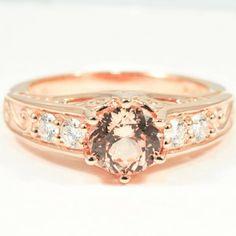 14K Rose Gold Art Deco Filigree Diamond Ring (1/4 CT. TW.) - Set with a 6mm Premium Peach Round Sapphire #BrilliantEarth #Sapphires