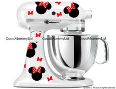 Minnie Mouse Inspired Decal Kit - For Mickey Mouse Fans - Vinyl Decals for your KitchenAid Stand Mixer by GoodMommyLtd on Etsy https://www.etsy.com/listing/207994861/minnie-mouse-inspired-decal-kit-for