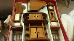 Wood Wooden Dolls House Furniture Piano Grandfather Clock Dresser Chairs