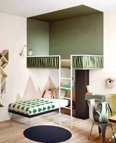 Love the paint job on these bunk beds. That top bunk feels like a completely different room! Excellent idea to make a kids room feel bigger.and give them a treehouse :) by