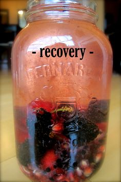 Recovery  This vitamin water is ideal for recovery post-workout or after a large bout of physical activity.  Blackberries and Cherries aid in replenishing oxygen in the blood while pomegranate and glutamine help to restore and repair muscle tissue damage.    Complete Recipe:    http://www.zainsaraswatijamal.com/site/recipes/zains-signature-vitamin-water-five-flavours/