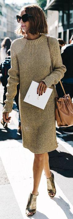 Beige Sweater Dress M F W Fall Inspo by Collage Vintage
