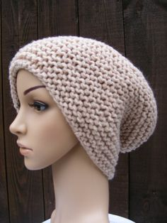 knitted hat large knit beanie slouch hat by HandmadeBySusannah, $38.00