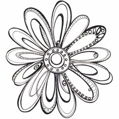 Pen and Ink Flower- 8.5 x 11 print by Kathryn. $18.00, via Etsy.