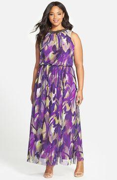 London Times Embellished Neck Print Maxi Dress (Plus Size) Plus Size Maxi Dresses, Plus Size Outfits, Casual Dresses, Fashion Dresses, Modest Summer Fashion, Summer Dresses For Women, Curvy Girl Fashion, Plus Size Fashion, Bridesmaid Dress Colors