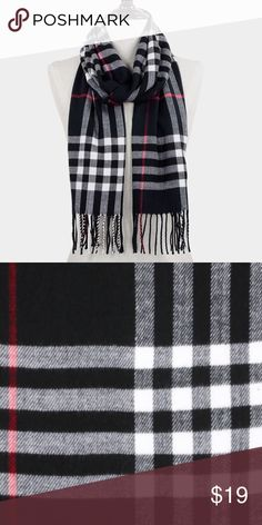 "SALE! Classic Plaid Check Fringe Winter Scarf Acrylic. 13""W x 70""L Accessories Scarves & Wraps"