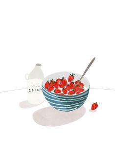 Cornish Strawberries and Cream Wall Art Print - Food illustration print, Home Decor, Cornwall Art Print, Kitchen Print, Katy Pillinger Pen Illustration, Cream Walls, Kitchen Prints, Kitchen Walls, Food Drawing, Strawberries And Cream, Food Illustrations, Cute Drawings, Food Art
