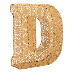 Letter D Initial, Gold