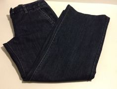 Ann Taylor Petite Pants Womens 4 Jeans Dark Blue Wide Leg Bottom #AnnTaylor #WideLeg