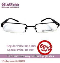 COSMOLINE HM4139 Grey Gradient EYEGLASSES http://www.glareaffair.com/eyeglasses/cosmoline-hm4139-grey-gradient-eyeglasses.html  Brand : COSMOLINE  Regular Price: Rs1,800 Special Price: Rs899  Discount : Rs901 (50%)