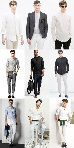 The 5 Staples Of French Style: 3. The Collarless Shirt Lookbook Inspiration