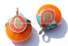 Tibetan Copal Amber Reversible Pendant with Brass, Lapis, Turquoise & Coral Inlay Cap - Tibetan Pendant - Tibetan Amber Amulet - WM4874