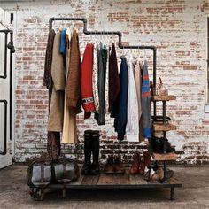 industriell stil l kleiderständer schuhe rohr kleiderbügel