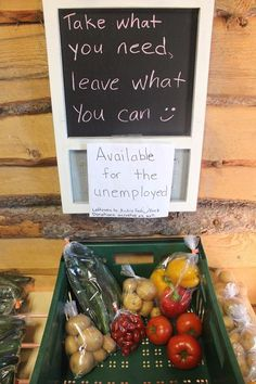 We love that Shirley's Greenhouses is doing this! Take what you need leave what you can! Potatoes donated from the Hutterites. #yyc #yycliving #yyceats