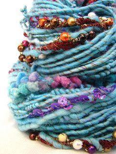 << love the color combo + those beaded accents >> Art Yarn - Saumya… Crochet Yarn, Knitting Yarn, Textiles, Spinning Wool, Yarn Inspiration, Yarn Stash, Passementerie, Yarn Shop, Yarn Projects