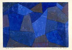 Paul Klee, Rocas por la noche, 1932. Acuarela y tinta sobre papel imprimado con tiza y cola, montado sobre papel, 20.9 x 29.5 cm, Guggenheim Museum, Nueva York