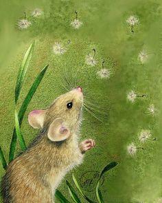 8x10 Cute Little Mouse Art Print  , via Etsy.