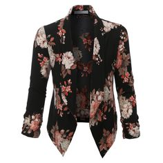 LE3NO Womens Floral 3/4 Sleeve Open Front Blazer (62.060 COP) ❤ liked on Polyvore featuring outerwear, jackets, blazers, tops, three quarter sleeve blazer, floral jacket, open front blazer, drape jacket and draped blazer