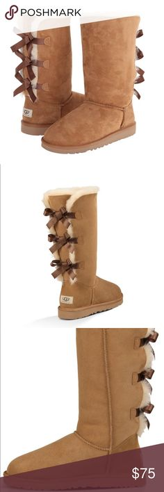 NEW UGG Tall Bailey Bow Boots SIZE 6 WMNS New UGG Bailey Bow Tall Chestnut Boots. Comes with box. opened to offers! UGG Shoes Winter & Rain Boots