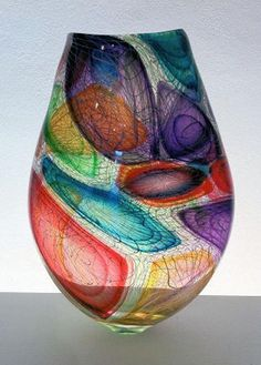 bob crooks glass art | Complexity Vase (multi Coloured) | John Noott Galleries