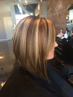 Red lowlights. Brown lowlights. Blonde highlights. Slices. Long sleek stacked swing bob. #aloxxi  #kreationsbykatie