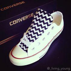 055c3c6c1f36 Custom Converse Low Top Sneakers Black White Chevron Chuck Taylors Converse  Tennis Shoes