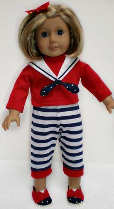 American Girl Red Long Sleeve Tee Shirt  18 inch by dollupmydoll, $7.50