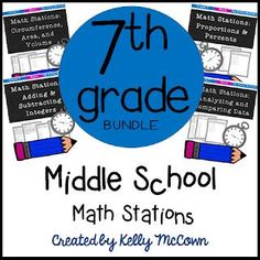 Ready to teach 7th grade math? Math stations are perfect for teaching independence of learning and key concepts. Try one or all of the middle school math activities with your students. Download your set of math printable stations today! Math Lesson Plans, Math Lessons, Math Skills, Math Resources, Math Activities, Math Worksheets, Math Stations, Math Centers, Seventh Grade Math