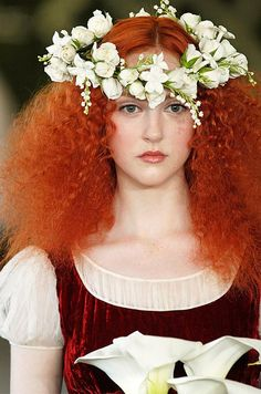 Red hair from the Oscar de la Renta bridal runway show Spring 2013. See more bridal beauty looks: http://ccwed.me/Izo9HA