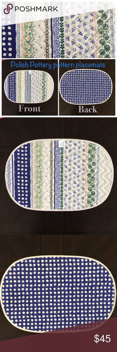 """Polish Pottery pattern placements set of 8 Beautiful 100% cotton Polish pottery two sided Boleslawiec pattern placemats. One side has the traditional Polish Pottery dot pattern and the other side is the floral pattern. Hand made in Poland. Includes all 8 in the purchase. Measures approx. 17"""" x 11"""" BRAND NEW, never been used!! Looking for a dining room table to call home. Accessories"""