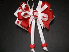 Valentines Day Hair Bow Red Sweetheart HEART Boutique Streamers Tails Toddler Girl. $5.50, via Etsy.