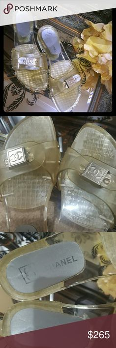 Take 50% OFF SALE CHANEL Clear lucite mules PLACE IN BUNDLE - OFFER 50% LESS          TODAY ONLY Size 8.5 Gently worn sandals   Chanel adjustable mules CHANEL Shoes