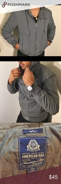 HP American Rag light rain coat hoodie Nice zip hoodie.  It's also water resistant.  Rinse true to size and the sleeves are too short on me. American Rag Jackets & Coats Lightweight & Shirt Jackets