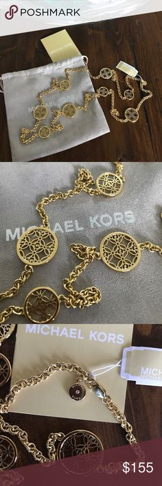 """MICHAEL KORS Monogram Gold Tone Chain Necklace Guaranteed Authentic! Brand New with Tag!  Gorgeous piece!!! Michael Kors monogram discs chain necklace. Color: gold tone. Lobster clasp closure. Approx. measurement: 38.5"""" length. Dust bag and care card included. Item will be videotaped prior to shipping to ensure proof of condition. Michael Kors Jewelry Necklaces"""