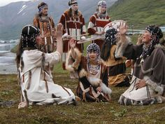 Aleut (Unangan) dancers - had to post for my son ; ) I love the diversity of the regalia shown here.