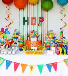 Rainbow Easter Hop Girl Boy Colorful Party Planning Ideas