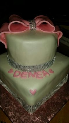 Princess Bling 2 tiere cake! All homemade and made from scratch  !