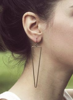 antique brass triangular line earrings by ofmatter on Etsy