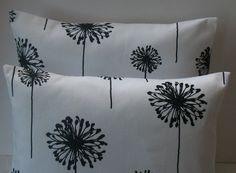 New  Two 18 x 18 Premier Prints Dandelion white and black. $22.00, via Etsy.