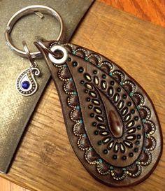 Paisley Keychain Paisley Leather Keychain by lorisleatherandmetal