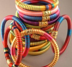 Indian Silk Bangles - Bright Beautiful Colors. 4 for $20.00, via Etsy. seller indianbracelets